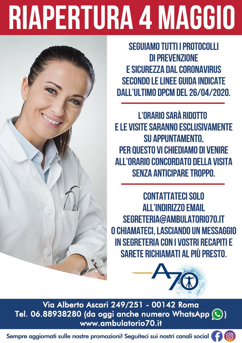 Ambulatorio 70 Riapertura 4 Maggio 2020